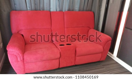 The red home theater chairs for 2 seats at home. #1108450169