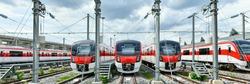 The Red Line train stops at a maintenance facility at Bang Sue Central Station, Bangkok, Thailand