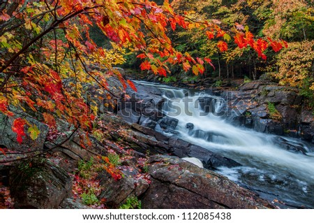 The red maples leaves frame this beautiful waterfall in Algonquin park at the peak of the fall colors.