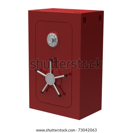 The red metal safe with a coded lock on a white background