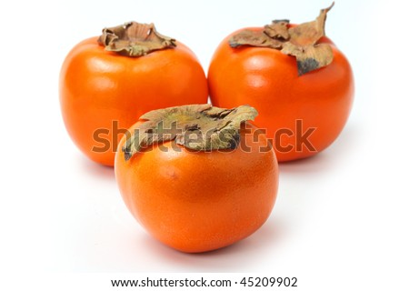 The red persimmon isolated on white background