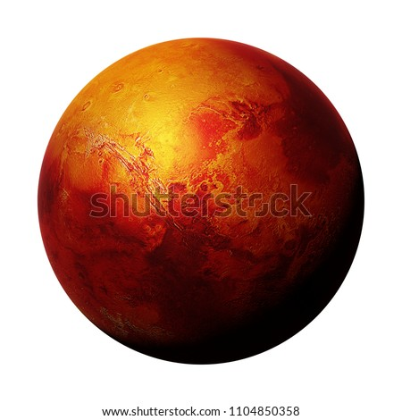 the red planet Mars, part of the solar system isolated on white background(3d space rendering, elements of this image are furnished by NASA)