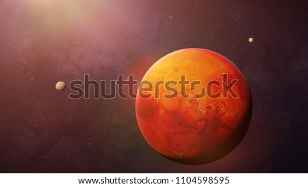 the red planet Mars with it moons Phobos and Deimos, part of the solar system (3d space rendering, elements of this image are furnished by NASA)