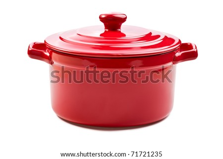 the red pot with cover