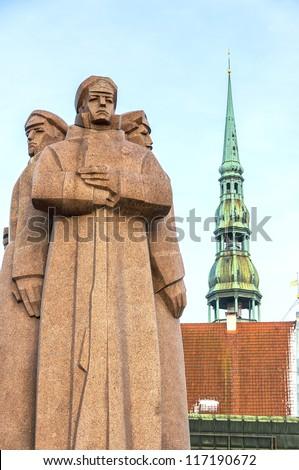 The red riflemen of Riga monument that commemorates Lenin's private Latvian bodyguards.