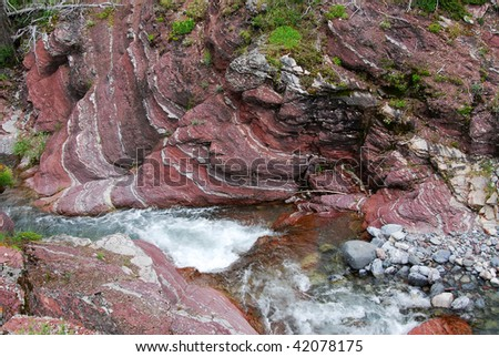 The red rock creek and canyon in waterton lakes national park, Alberta, Canada