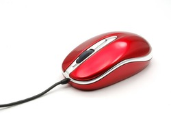 The red small mouse for a portable computer