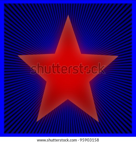 The red star on a blue striped background - illustration