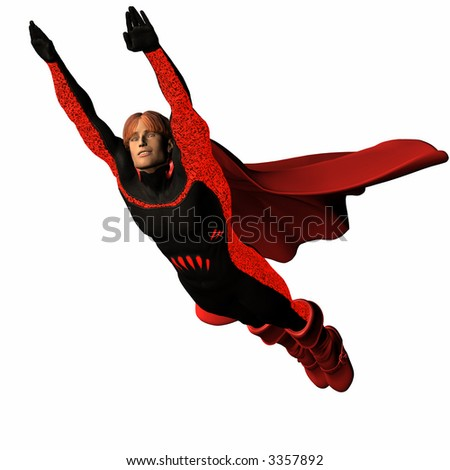 The red super hero with boots and Cape flies through the air