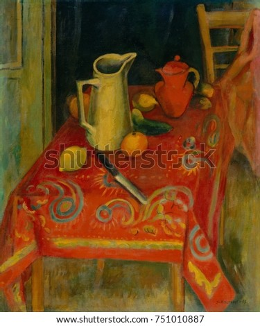 THE RED TABLECLOTH, by Samuel Halpert, 1915, American painting, oil on canvas. The artist studied and lived in Paris and combined the influence of Cezanne and the Fauves in this still life painting