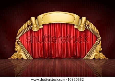 The red theatre velvet curtains.