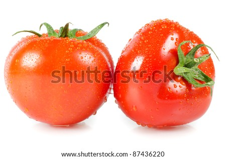 The red tomato isolated on white background