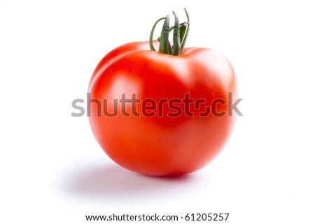 the red tomato on white background