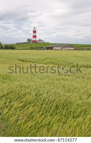 The red-white lighthouse, Happisburgh, Norfolk, UK
