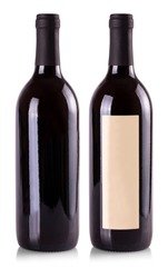 The red wine bottles on white background