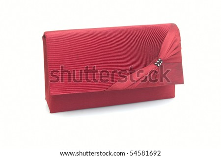 The  red women clutch bag isolated on white background