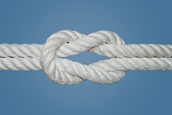 The Reef Knot or Square Knot is quick and easy to tie; it is a good knot for securing non-critical items. This knot was used for centuries by sailors for reefing sails, hence the name Reef Knot.
