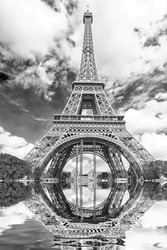 The reflection of the tower.
