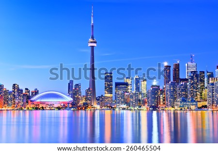 The Reflection of Toronto skyline in Ontario, Canada.
