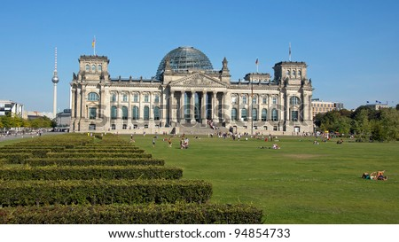 The Reichstags Building in Berlin, Germany. The Headquarter of the German Government.