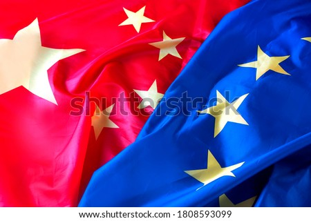 The relationship between the EU and China concept with two flags