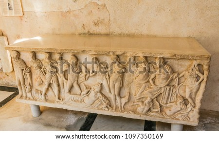 """The relief of an ancient tomb in """"Paradise Yard"""" (patio), adjacent to Cathedral of St. Andrew in Amalfi #1097350169"""