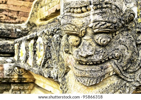 The relief of Sulamani temple in Bagan, Myanmar
