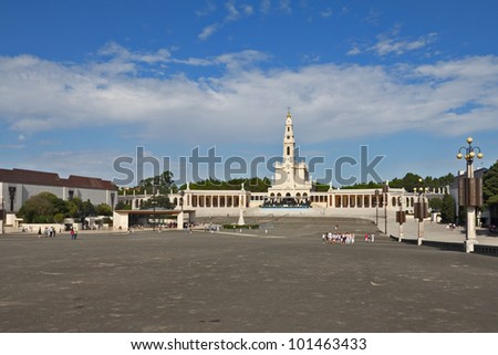 The religious center in the small city of Fatima in Portugal. The obelisk costs on that place where many years ago the sacred Madonna was to children-shepherds