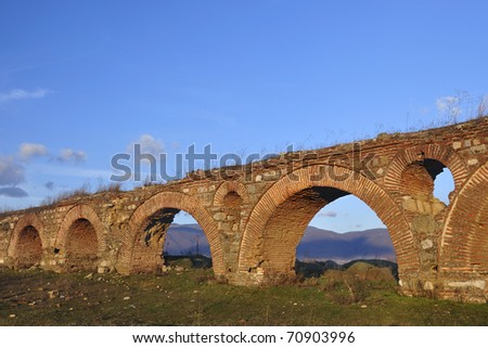 The remains of an old roman aqueduct near city of Skopje Zdjęcia stock ©