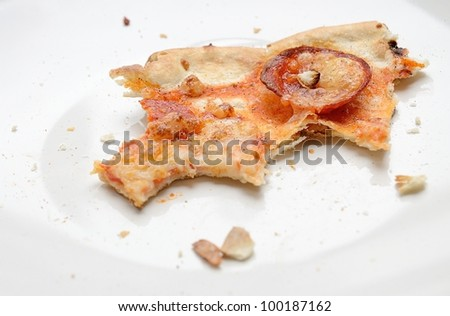 The remains of salami pizza on the white dish.