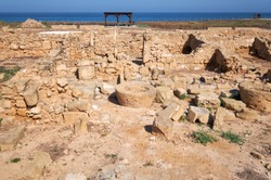 The remains of the ancient Roman city of Nea Pafos near Kato Pafos harbour. Paphos Archaeological Park. Cyprus