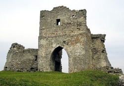 The remains of the gate tower on Castle Hill in the Ukrainian city of Kremenets