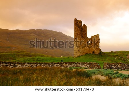 The remains of the 15th century Adrvreck Castle, on the shores of Loch Assynt, Scotland