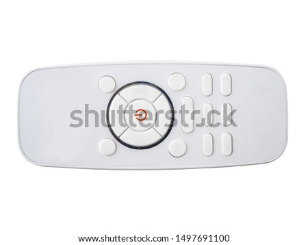 The remote is black. Isolated on white background remote control. Remote control without labels on the buttons