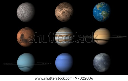 The render of planets in order from first to last and including Pluto despite it's no longer being considered a planet. Elements of image provided by NASA.