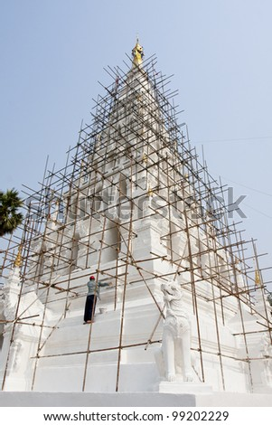 The repairing of famous pagoda in Thailand, Chedi-Liam, Chaing Mai province, north of Thailand