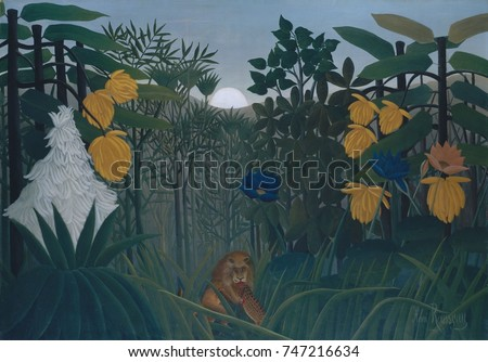 Stock Photo The Repast of the Lion, by Henri Rousseau, 1907, French Primitivism, painting, oil on canvas. The self-taught naive artist based the exotic vegetation on studies that he made in Paris\x90s botanical