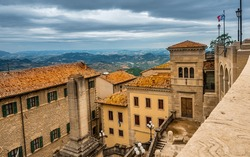 The Republic of San Marino (Italian Republic of San Marino). San Marino until 1463 consisted only of Monte Titano and it is from the top of this mountain that we can see the view as in this photo.
