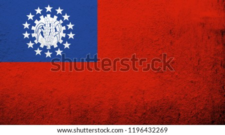 The Republic of the Union of Myanmar (Burma) National flag 1974-2010. Grunge background