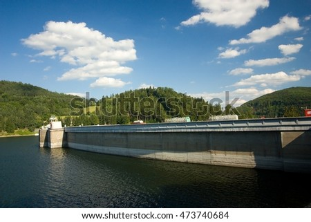 The reservoir and hydraulic power plant by name Vir, Czech republic   #473740684