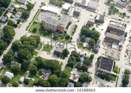 The residential and commercial portions of a small town. - stock photo