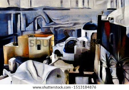 The resort town of Santorini in Greece. Abstract landscape in the style of cubism. The painting is done in oil on canvas with elements of pastel painting.