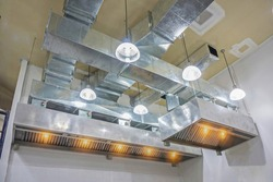 The restaurant ventilation system. Airflow fan for ventilate vacuum odor. Ventilation in the kitchen.