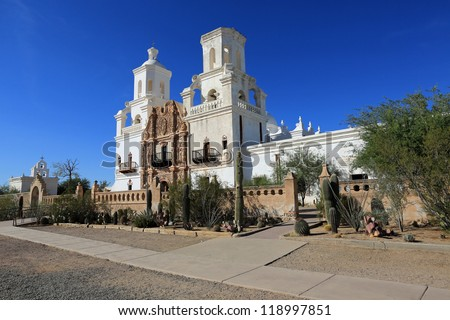 The restored San Xavier del Bac Mission near Tucson, Arizona