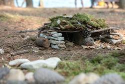 The result of children's construction in nature: stones, branches, moss and pine cones made a small hut.