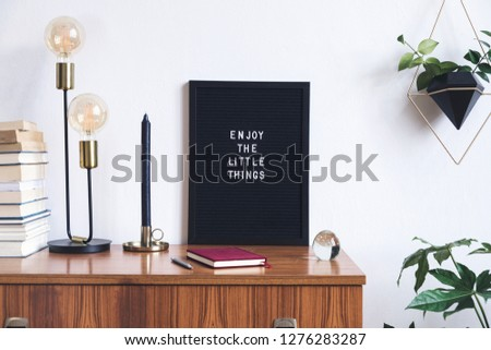 The retro mock up photo frame on the vintage wooden shelf , hanging plant in design pot, books, gold pyramid and table lamp. Concept of minimalistic shelfie.  #1276283287