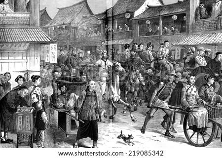 The return of racing in shanghai, vintage engraved illustration. Journal des Voyages, Travel Journal, (1880-81).