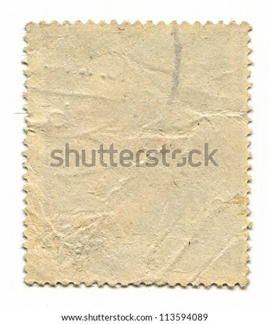 The reverse side of a postage stamp. #113594089