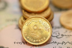 The reverse side of Egyptian 50 fifty piasters 2021 AD, 1442 AH, on a blurred 50 piasters coinage and fifty piasters background, circulating Egyptian coins money background close up view