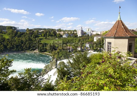The Rhine Falls are 150 m wide and 23 m high. The Rhine Falls were formed in the last ice age, approximately 14,000 to 17,000 years ago, by erosion- resistant rocks narrowing the riverbed.